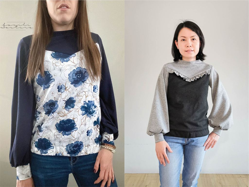 Trendy bishop sleeves with a high neck feature.