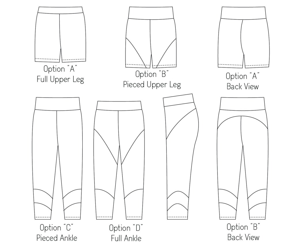 Line drawings for the Tamarack tights by Sofiona Designs.