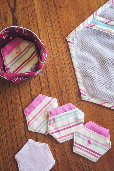 Sweet striped fabric makes a pretty set of reusable make-up remover pads, storage basket and mesh laundry bag.