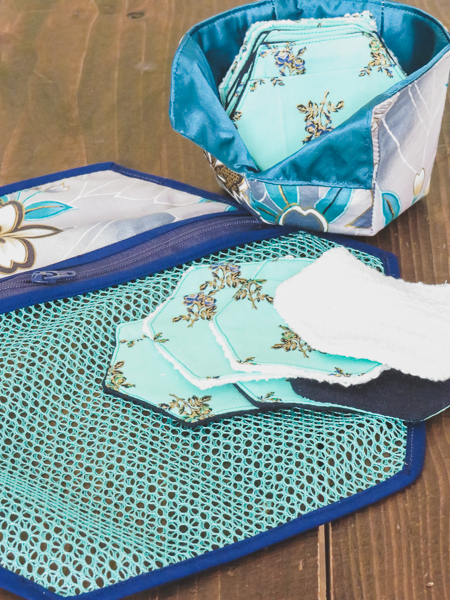 Perfect gift set.  Make-up remover pads, storage basket and laundry bag in beautiful blue toned fabrics.