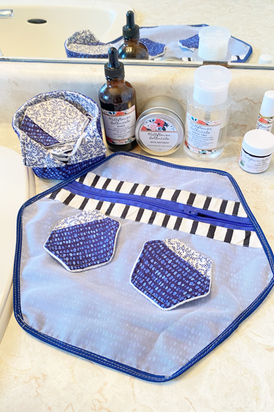 Make-up remover pads, storage and fabric/mesh laundry bag in serene blues.