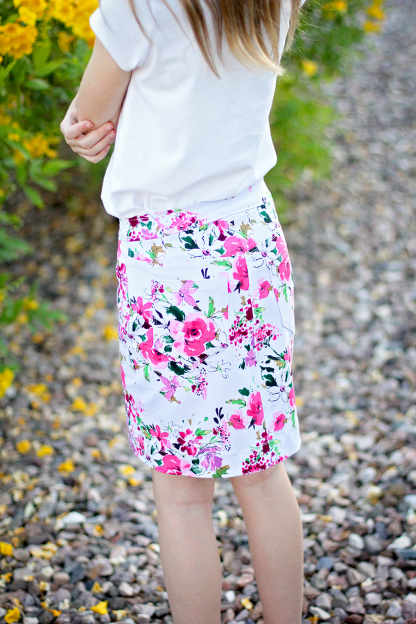 Modern print on a classic jean skirt. Perfect statement piece for any wardrobe!
