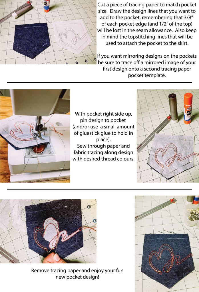 How to add topstitching details to the back pockets of the Bedrock skirt.