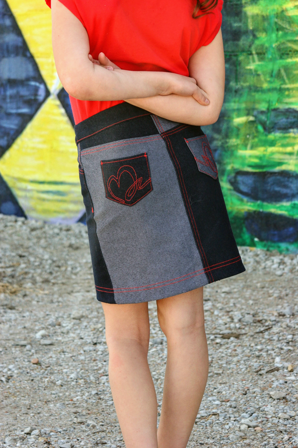Amazing topstitching details on the Bedrock skirt.