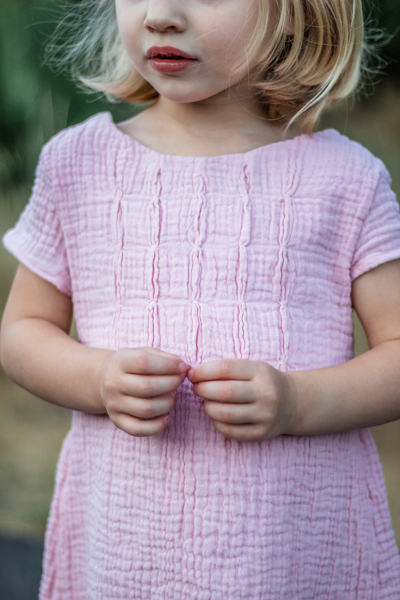 The Haze by Sofiona Designs for girls' sizes 2-16 in the dress length and bubble tuck bodice.