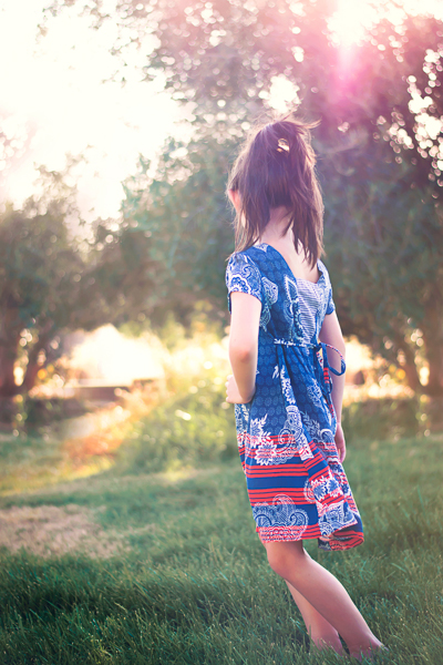 The Haze by Sofiona Designs for girls' sizes 2-16 in the dress length with simple hem and V back.