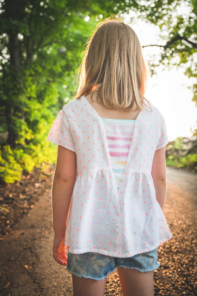 The Haze by Sofiona Designs for girls' sizes 2-16 in the top length and plain V back.