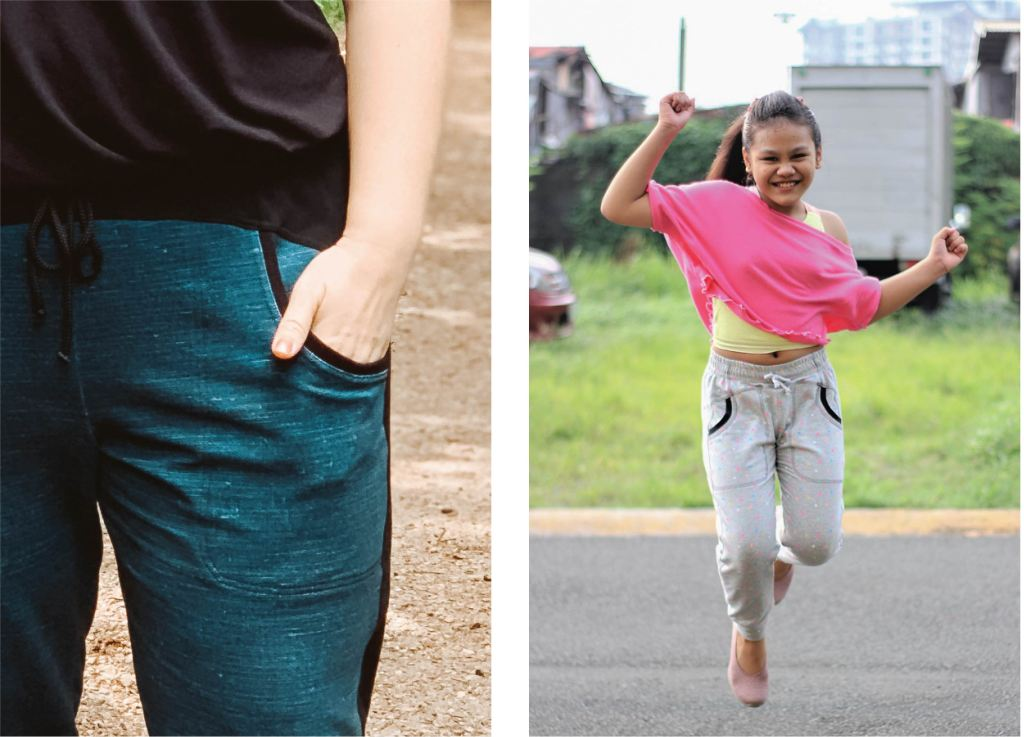 Optional waist ties for both style and function on these trendy joggers.