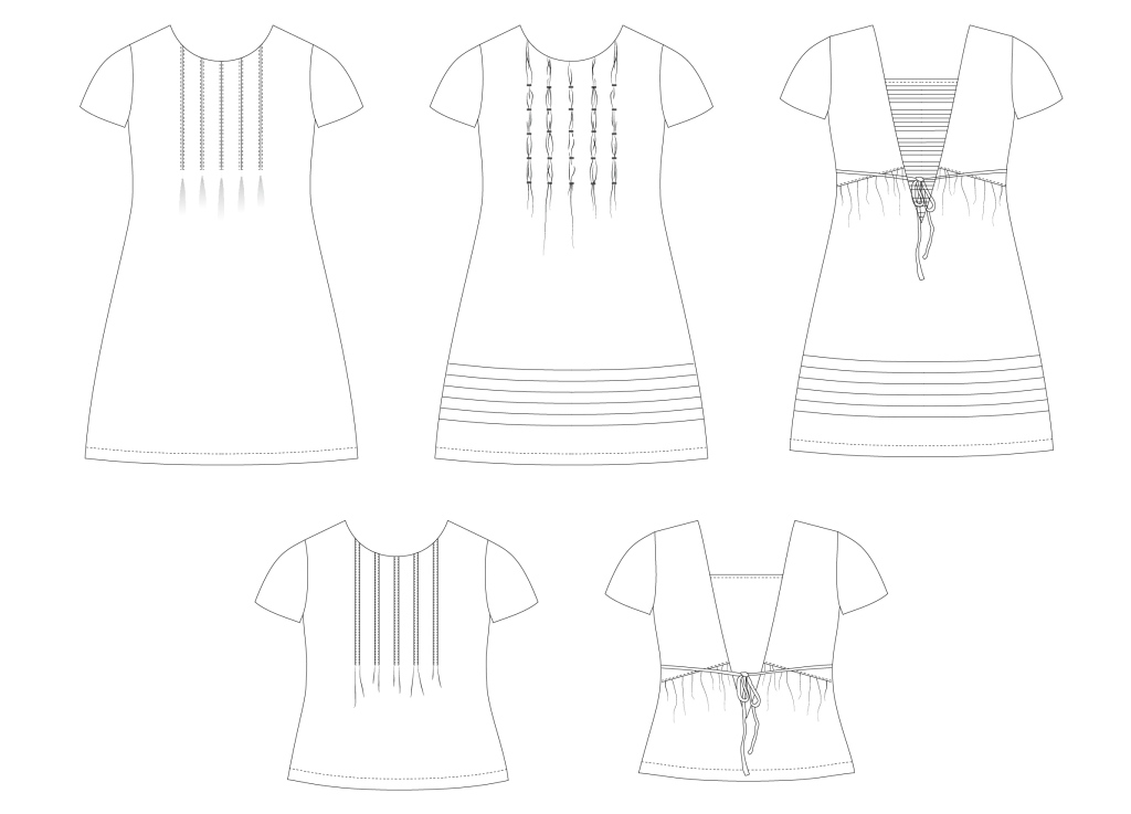 Line drawings for the Miss Haze dress or top from Sofiona Designs available in junior miss sizes 0-20.