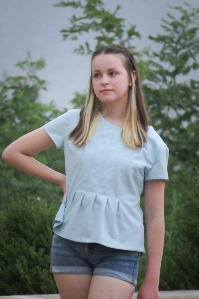 The Miss Haze top with pleated bodice and waist ties. Available from Sofiona Designs in junior miss sizes 0-20.