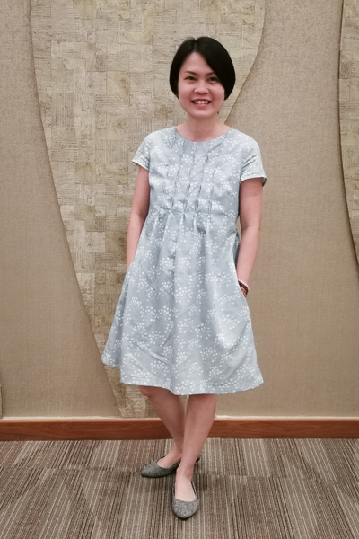 The Miss Haze top with bubble tuck bodice, simple hem, and waist ties. Available from Sofiona Designs in junior miss sizes 0-20.