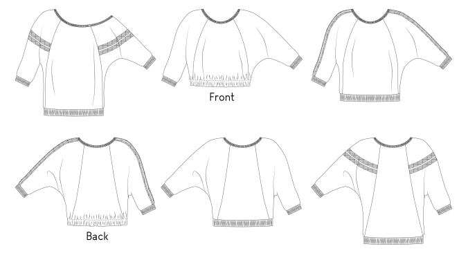 The line drawings for the Birch sweater by Sofiona Designs.